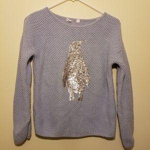 Gap Girls Sweater Knit Grey Penguin Size 14/16